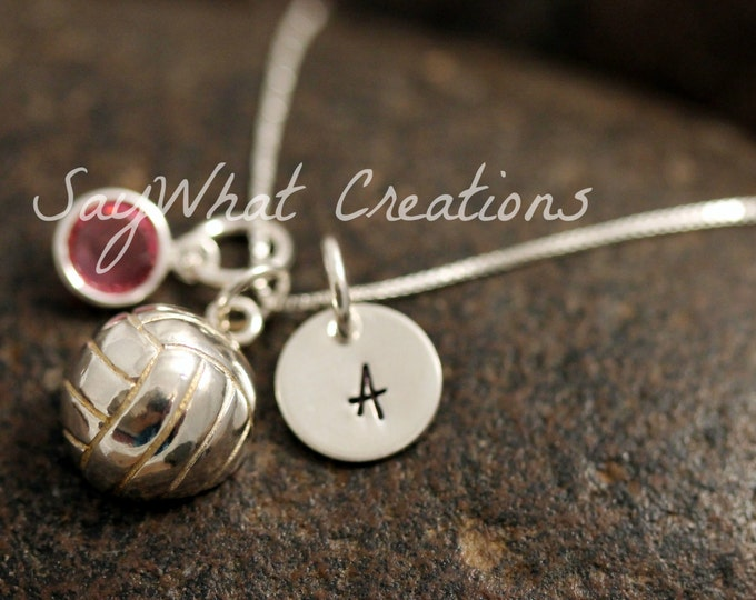 Sterling Silver Mini Initial Charm Necklace with Volleyball Charm and birthstone
