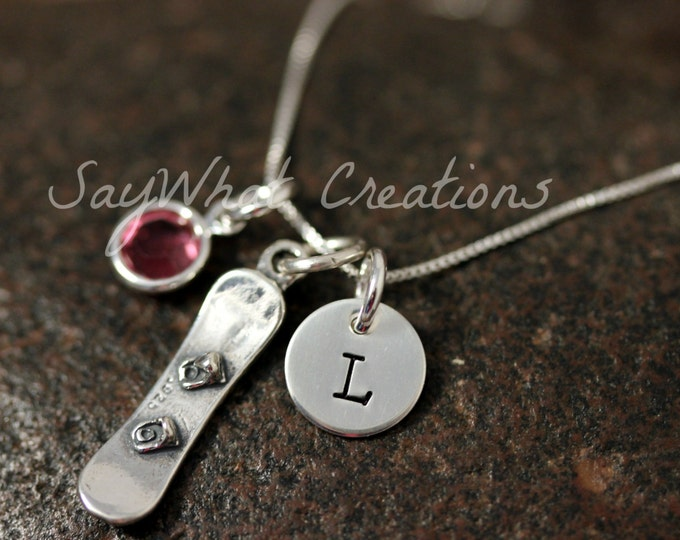 Sterling Silver Mini Initial Hand Stamped Snowboard Snow Boarder Charm Necklace