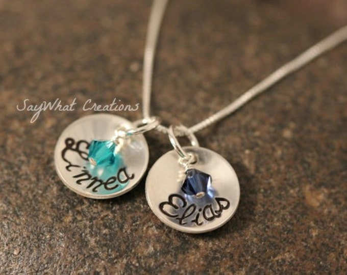 Custom Hand Stamped Sterling Silver 2 Small Cups Mothers Necklace with Birthstones