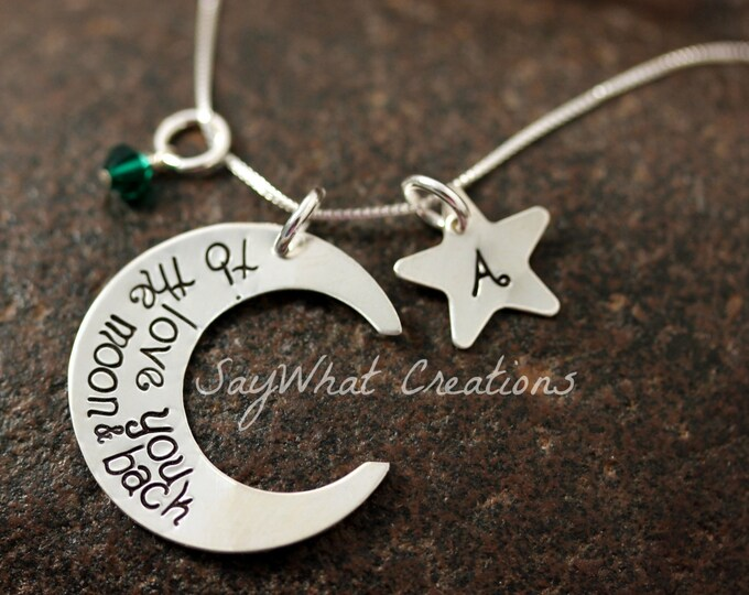 I Love You To The Moon Sterling Silver Moon Shaped Necklace Custom Hand Stamped with Star Initial and Birthstone