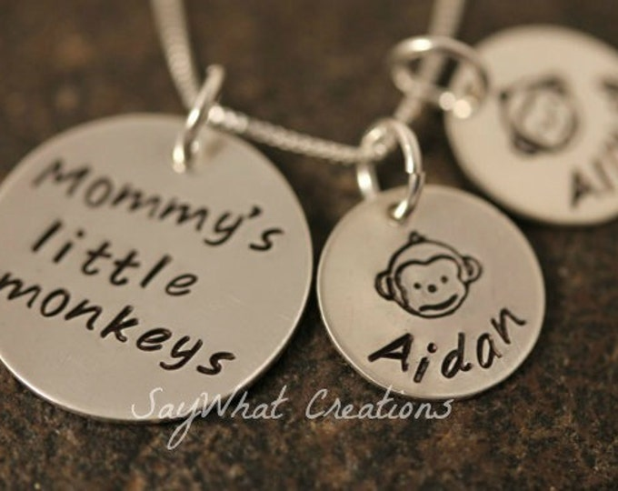 Custom Hand Stamped Mommy's Little Monkeys Personalized Mothers Necklace