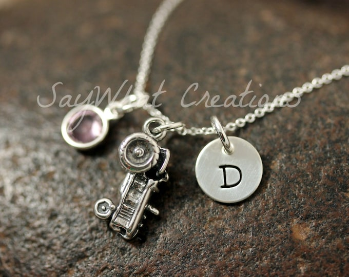 Sterling Silver Mini Initial Hand Stamped Tractor Charm Necklace