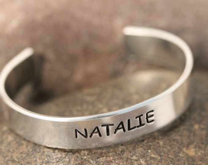 Child's Cuff Bracelet Personalized Hand Stamped fits most children and toddlers