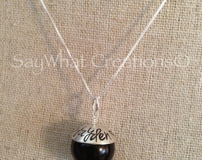 Hand Stamped Bead Cap Pearl Mothers Necklace LARGE 12 colors to choose from