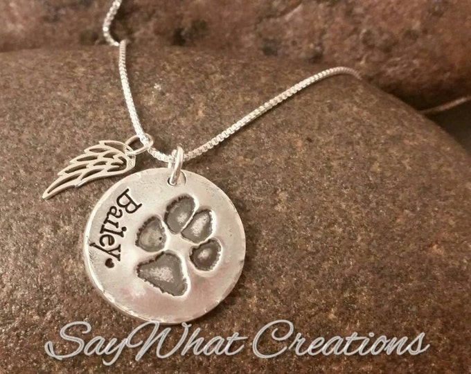 Dog or Cat Paw Necklace made from your Pet's Actual Paw Print Remembrance Necklace with Angel Wing