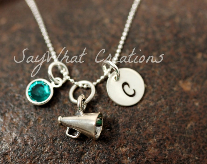 Sterling Silver Cheerleader Megaphone Charm Necklace with Mini Hand Stamped Initial and Birthstone