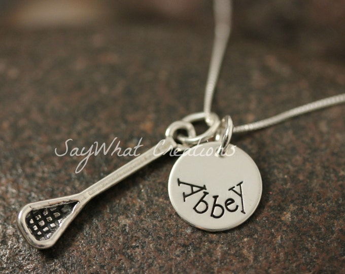 Sterling Silver Hand Stamped Lacrosse Stick Charm Necklace with Stamped Disk