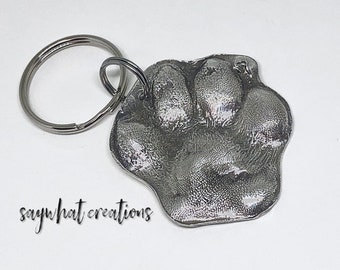 Your Dog or Cat's Paw Print made into Silver Key Chain