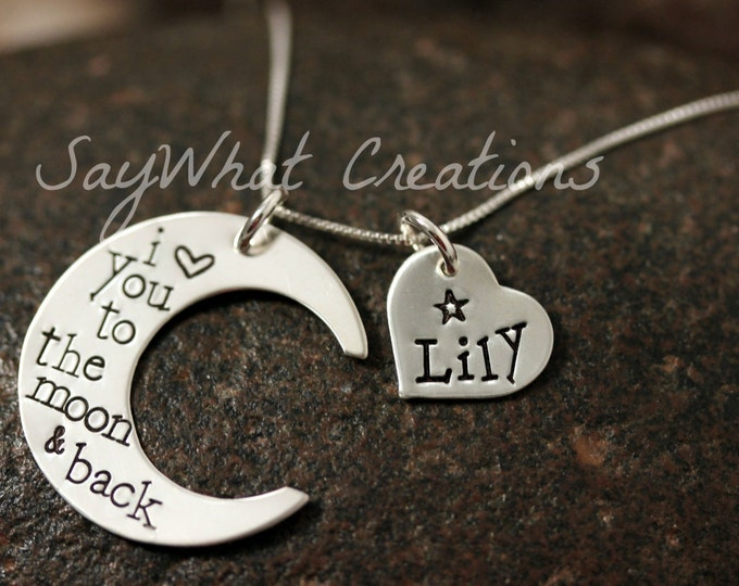 I Love You To The Moon Sterling Silver Moon Shaped Necklace Custom Hand Stamped with ONE heart