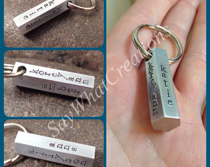 Hand Stamped 6-Sided Bar Keychain stamped on all six sides