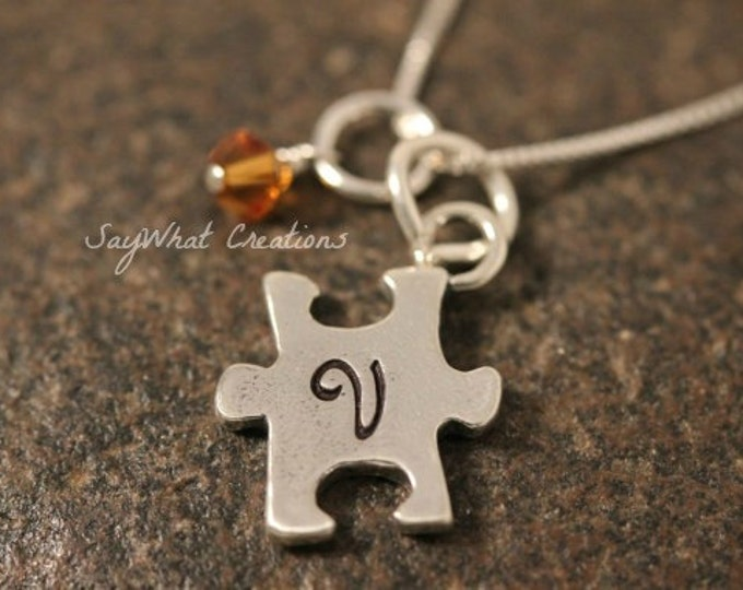 Custom Hand Stamped Sterling Puzzle Piece Charm Necklace with Initial and Birthstone