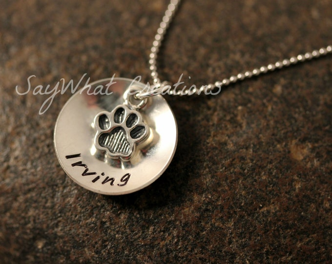 Dog Lovers Necklace Custom Hand Stamped Sterling Silver dome with dog paw charm