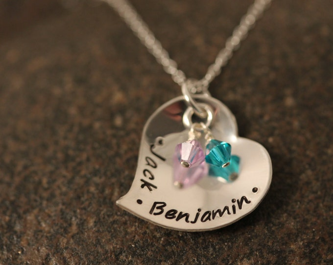 Custom Hand Stamped Sterling Silver Domed Heart Mothers Necklace with Birthstones