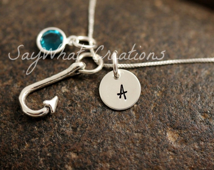 Sterling Silver Mini Initial Charm Necklace with Fish Hook Charm and birthstone