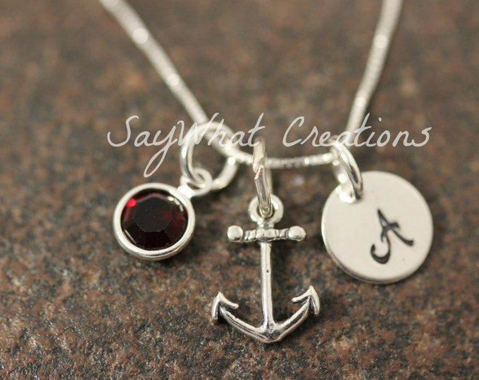 Sterling Silver Mini Initial Hand Stamped Anchor Necklace