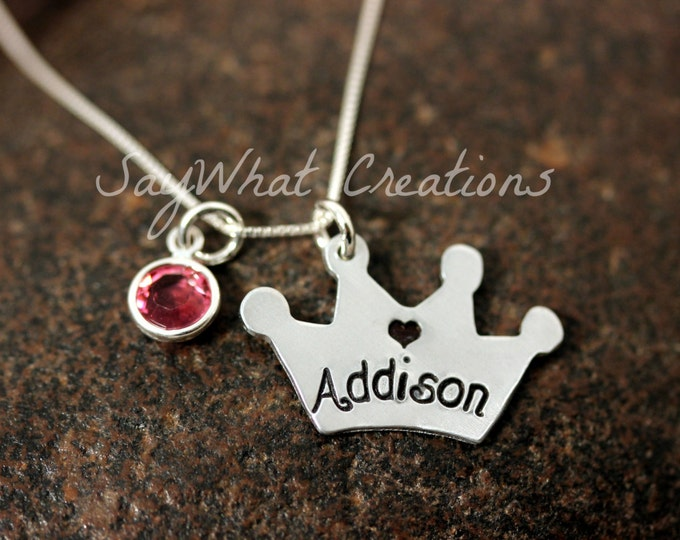 Princess Crown Necklace Hand Stamped with Name and Birthstone