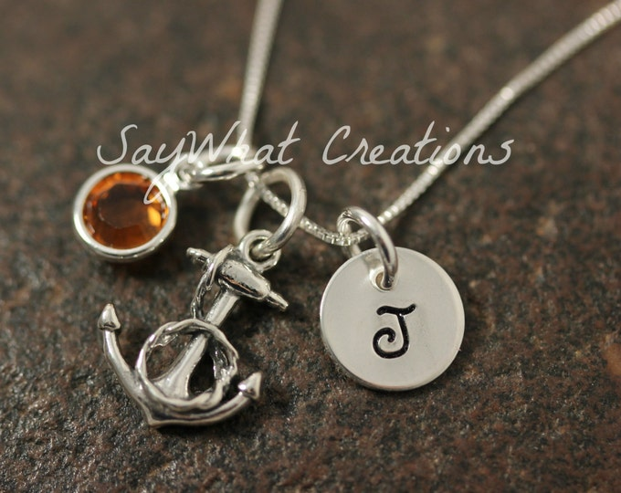 Sterling Silver Mini Initial Hand Stamped Anchor with Rope Necklace