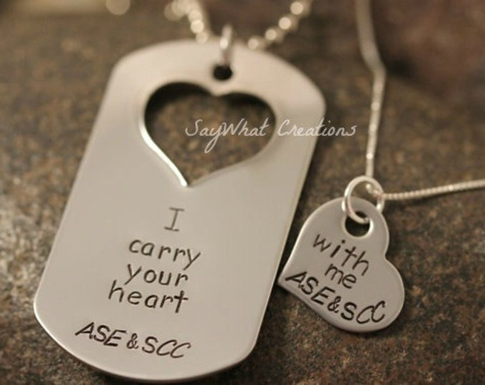 Custom Hand Stamped Matching Necklaces Set I carry your heart with me Personalized with Initials
