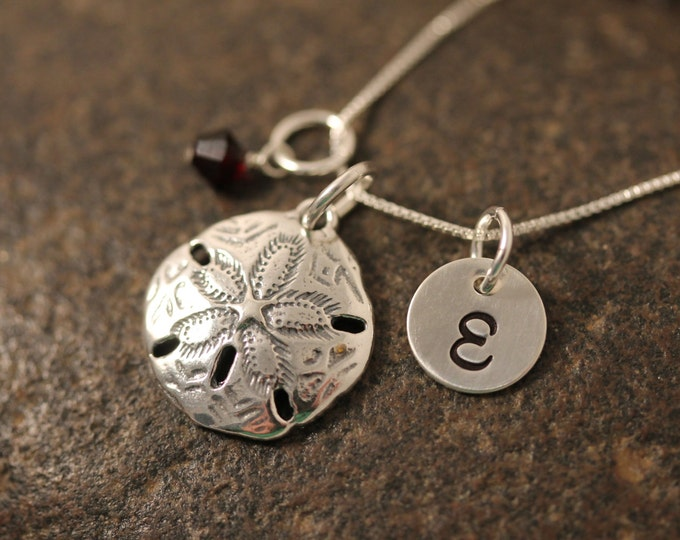 Sterling Silver Mini Initial Hand Stamped Sand Dollar Charm Necklace Beach theme