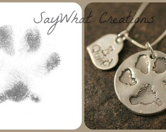 Custom Paw Print Necklace with your dog or cat's ACTUAL paw print