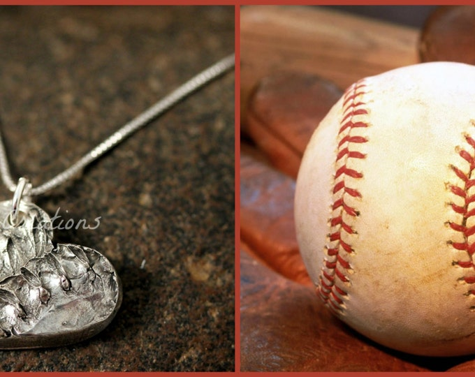 Custom Baseball Stitching Impression Necklace made from Solid Silver
