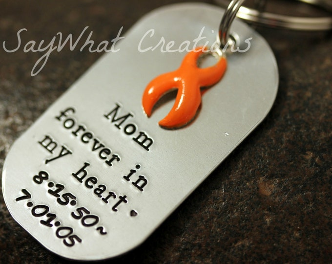 "Remembrance Key Chain with any color Awareness Ribbon ""forever in my heart"""