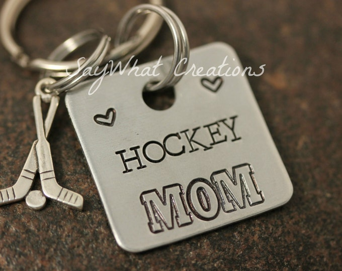 Hockey MOM Hand Stamped Key Chain with hockey sticks charm