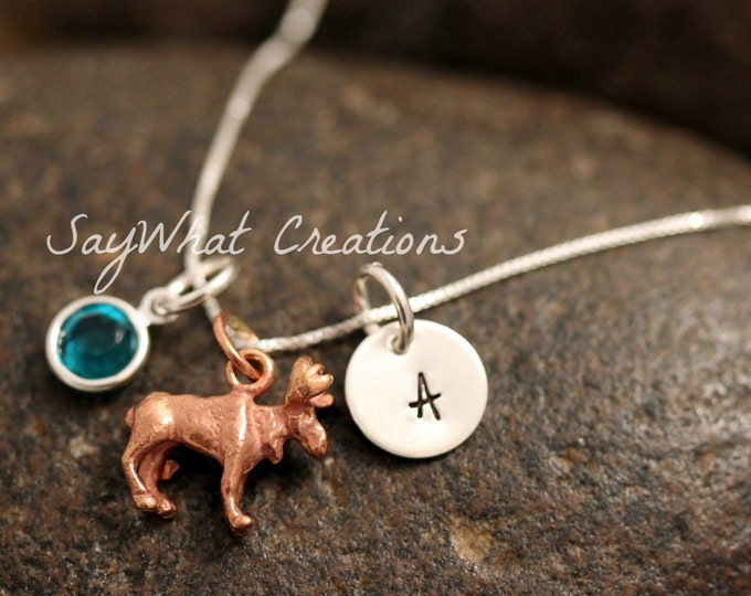 Sterling Silver Mini Initial Charm Necklace with Copper Moose Charm and birthstone