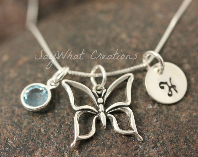 Sterling Silver Mini Initial Hand Stamped Butterfly Charm Necklace