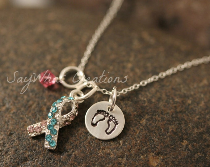 Sterling Silver Mini Initial Hand Stamped Pregnancy and Infant Loss Awareness Ribbon Charm Necklace