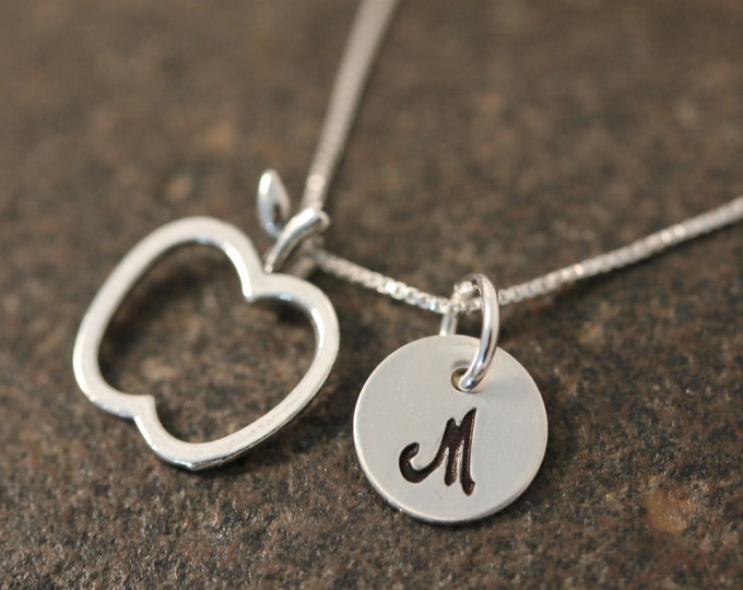 Sterling Silver Mini Initial Hand Stamped Apple Charm Necklace Great Teachers Gift