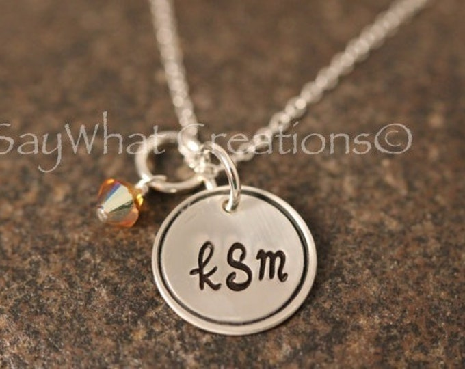 Custom Hand Stamped Sterling Silver Monogram Initials Necklace with Circle Border