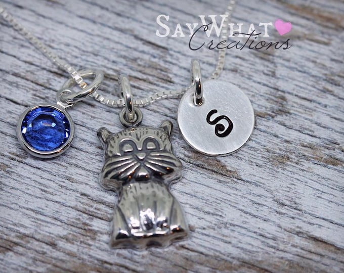 Sterling Silver Cat Necklace Hand Stamped with initial and birthstone
