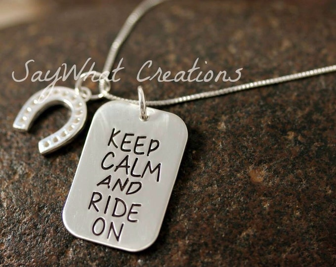 Keep Calm and Ride On Sterling Silver Equestrian Necklace and Horse shoe charm
