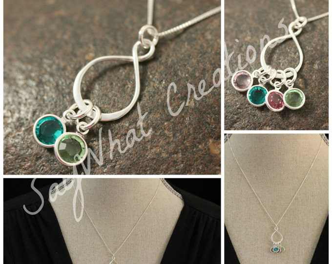 Infinite Love Birthstones Necklace with Sterling Silver Infinity Charm and Birthstones