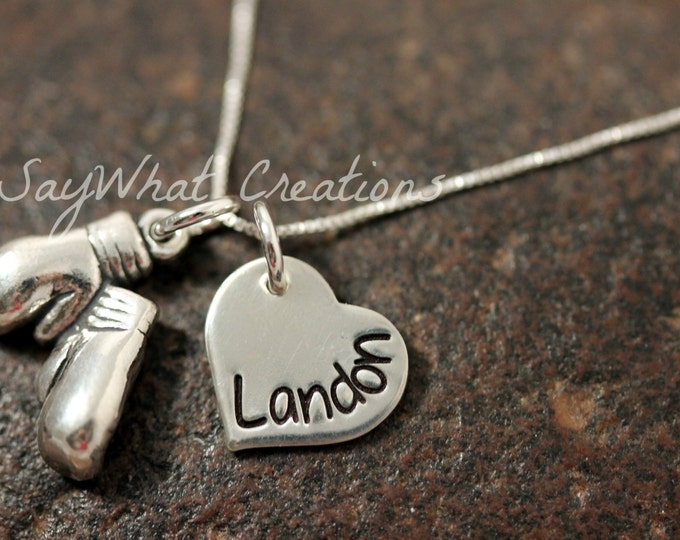 Sterling Silver Boxing Gloves and Hand Stamped Heart Necklace