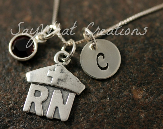 Sterling Silver RN Nurse Charm Necklace with Mini Hand Stamped Initial and Birthstone Perfect for Nurses, RNs