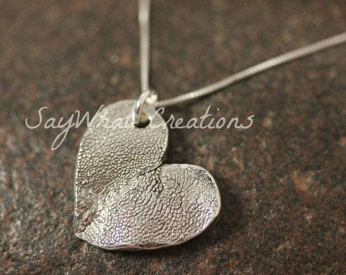 Double Dog Paw Heart Necklace made from your Dogs' Actual Paw Prints - TWO DOGS