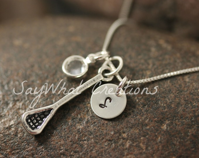 Sterling Silver Mini Initial Hand Stamped Lacrosse Stick Charm Necklace