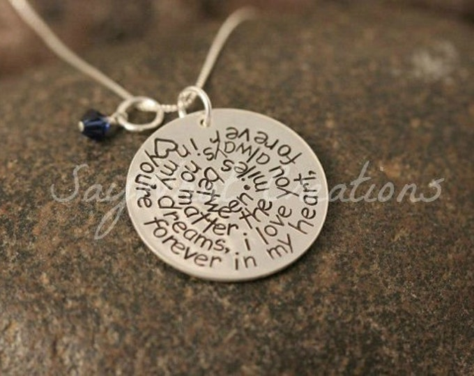 Custom Hand Stamped Necklace with Swirl Quote of your choice Sterling Silver