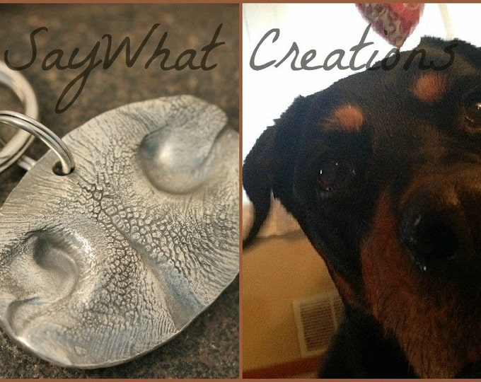 Dog Nose Impression Key Chain - your ACTUAL dog's nose in solid silver - Cold Nose Warm Heart - LARGE DOG