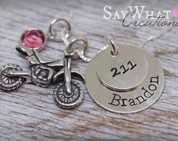 Sterling Silver Dirtbike Motocross Necklace