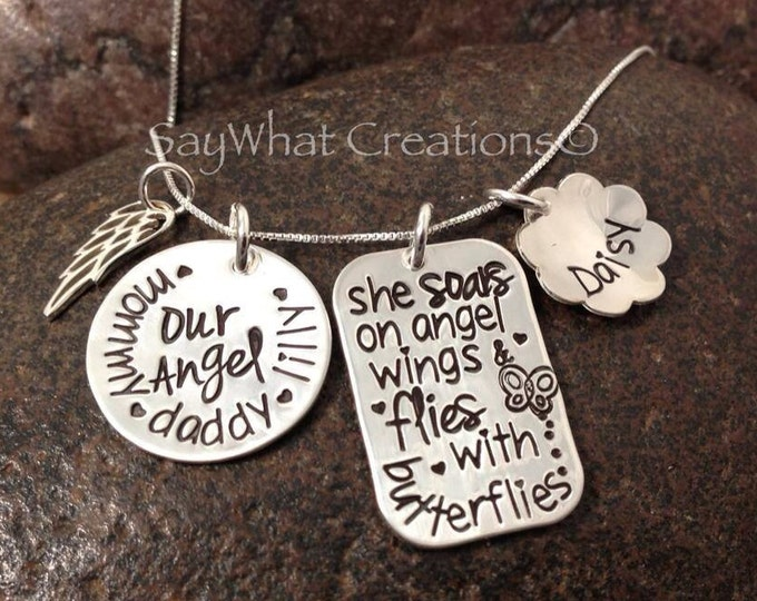 Hand stamped sterling silver Memorial Necklace for infant or child loss