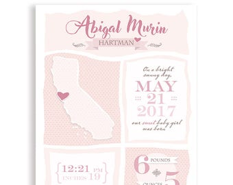 Personalized Baby Announcement Map | Baby Gift