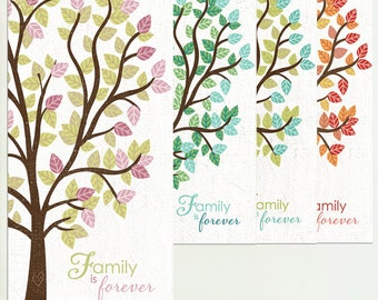 Family Is Forever, Family Tree Art, Family Wall Art, Seasons Wall art, Family Art, Custom Colors or Personalization Available