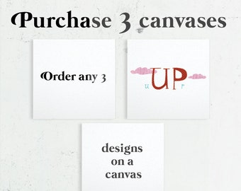 3 Canvas prints, Home Decor, Canvs Wall Art, Nursery Canvas, Bedroom Decor, Canvas gift, Gallery Wrap Canvas