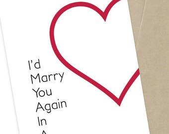 Anniversary Card   I'd Marry You Again   Couples Card    5x7 Greeting Card