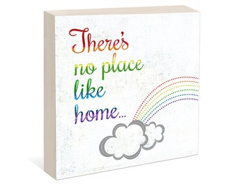 Wizard of Oz Art, There's No Place Like Home,  Woodblock Art Sign