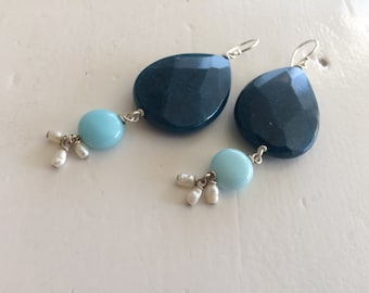 Sjans Sterling silver earrings with agate, amazonite and fresh water pearls