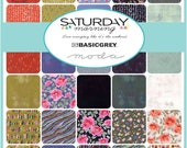 Moda Saturday Morning MINI Charm Pack by Basic Grey 2.5 quot Squares Grunge Modern Fabric